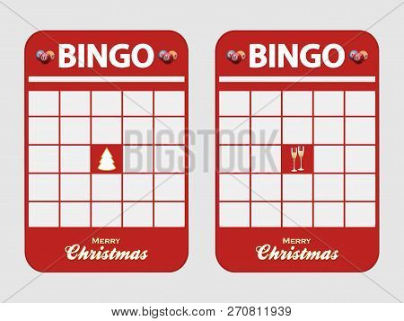 Christmas Festive Red Blank Bingo Cards Decorated With Christmas Tree Champaign Glasses And Merry Ch