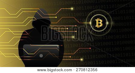 Hacker Attack On Bitcoins Crypto Currency Web Cyber Crime Vector Illustration Eps10