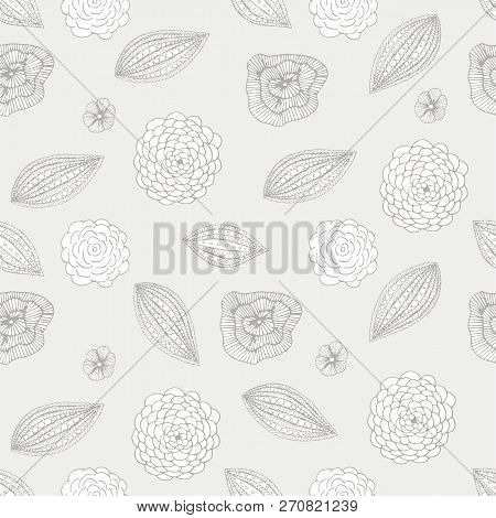 Floral Seamless Pattern On Grey Hand Drawn Design Element Stock Vector Illustration For Web, For Pri