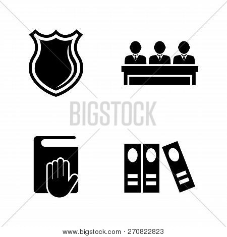 Law Justice, Court Judge. Simple Related Vector Icons Set For Video, Mobile Apps, Web Sites, Print P