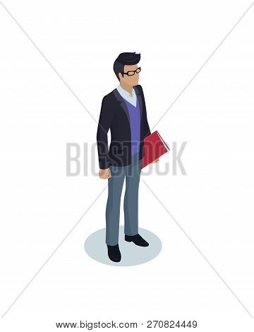 Business Person In Casual Suit And Glasses Vector Figure. Male Office Or Self-employed Worker Charac