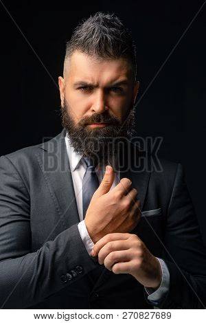 Fashion Suit. Rich Bearded Man Dressed In Classic Suits. Luxury Mens Clothing. Man In Suit. Business