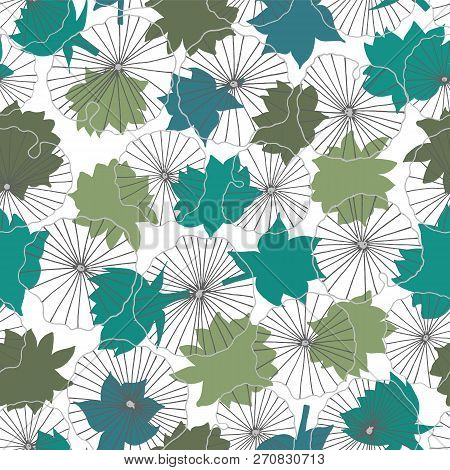 Blue And Green Waterlilies Silhouettes On Lineart Leaves Seamless Vector Pattern Background Ideal For Home Decor Fabric Paper Goods Packaging