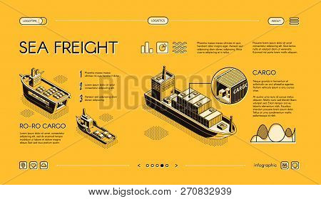 Sea Freight Transport Isometric Vector Web Banner, Horizontal, Slide Website Template With Ro-ro, Co