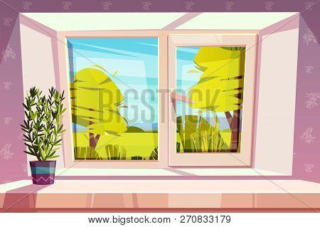 Window Overlooking Sunny Park Or Meadow And Home Plant In Pot On Windowsill Cartoon Vector Illustrat