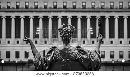 New York, Usa - Sep 26, 2015: Black And White Image Of Alma Mater Of Columbia University In Nyc. New
