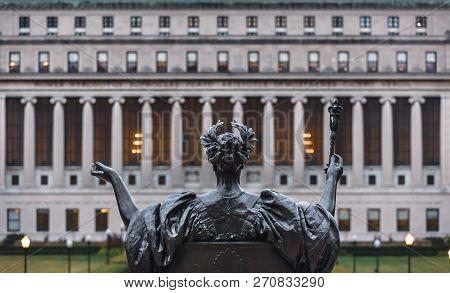 New York, Usa - Sep 26, 2015: Alma Mater Of Columbia University In Nyc. New York City Columbia Unive