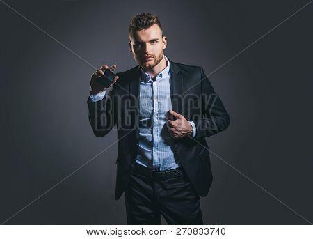 Elegant Man For Perfume. Masculine Perfume. Fragrance. Male Fragrance And Perfumery, Cosmetics. Man