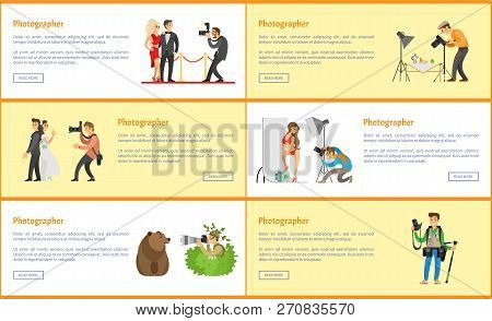 Photographer profession info promo banners. Paparazzi and photojournalist, wedding day, wild life photo correspondent, studio vector illustrations. poster