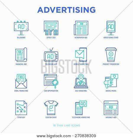 Advertising Thin Line Icons Set: Billboard, Street Ads, Newspaper, Magazine, Product Promotion, Emai
