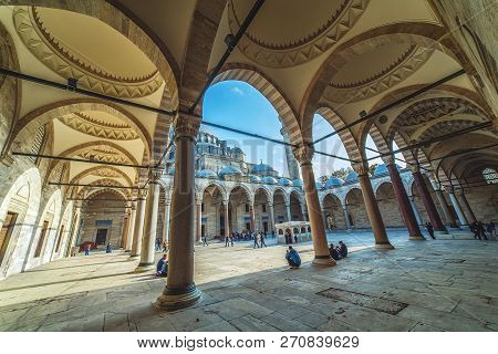 Istanbul, Turkey - October 13, 2018: Exterior View Of Suleymaniye Mosque Through Arches In Its Court