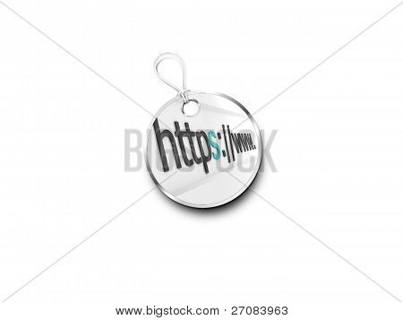 Silver Tag Marked With  Internet Address Bar Accented Green
