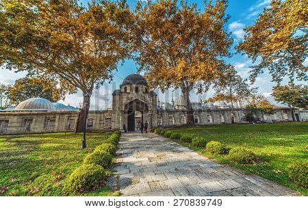 Istanbul, Turkey - October 13, 2018: The Gate Of Suleymaniye Mosque And The Garden. The Mosque Was C