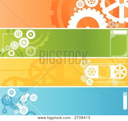 Set Of Technological And Industrial Clockwork Banners