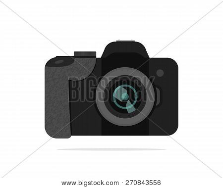 Icon Of Dslr-camera. Modern Electronic Device With Texture. Technology Theme. Colorful Flat Vector I