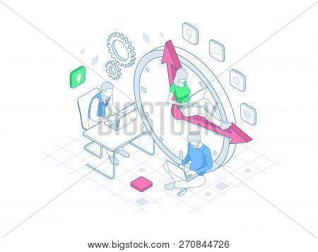 Isometric Effective Time Management In Outline Concept. Time Management, Planning, And Organization