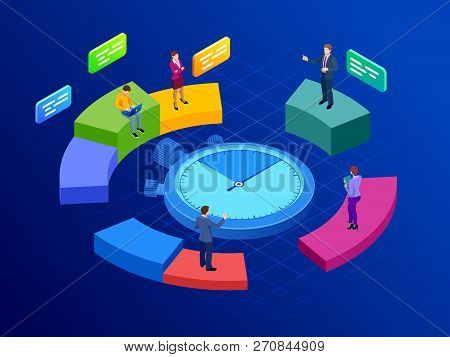 Isometric Effective Time Management Concept. Time Management, Planning, And Organization Of Working