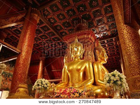 Unique And Gorgeous Golden Four-sided Seated Buddha Images Of Wat Phumin Temple, Famous Buddhist Tem