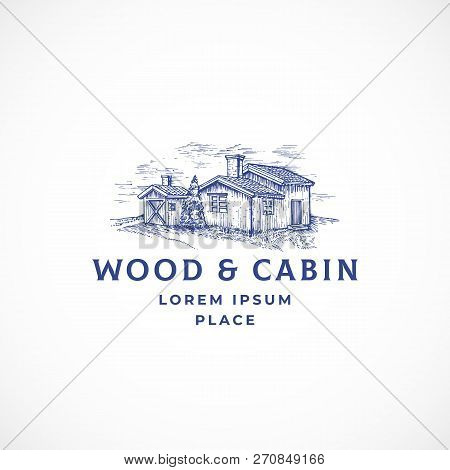 Cabin In The Woods Abstract Vector Sign, Symbol Or Logo Template. Elegant Wooden Buildings Landscape