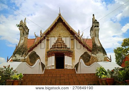 Wat Phumin Temple With The Naga Staircase, Stunning Main Entrance Of The Famous Buddhist Temple, His