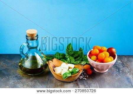 Italian Salad. Mediterranean Salad. Italian Cuisine. Mediterranean Cuisine. Tomato Mozzarella Basil