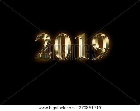 Luxury Golden 2019 New Year On Black Background. Happy New Year 2019.