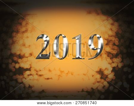 Luxury Silver 2019 New Year On Gold Bokeh Background. Happy New Year 2019.