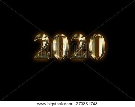 Luxury Golden 2020 New Year On Black Background. Happy New Year 2020.
