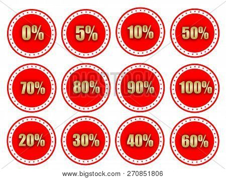 Special Offer Sale Red Circle Tag With Gold Percentage Discount Number Starting 0 To 100 Percentage.