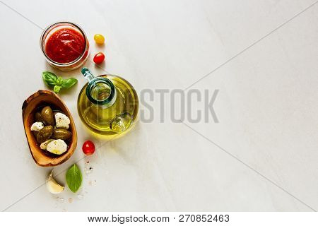 Flat Lay Of Italian Ingredients For Cooking Pizza, Pasta Sauce, Italian Or Vegetarian Food