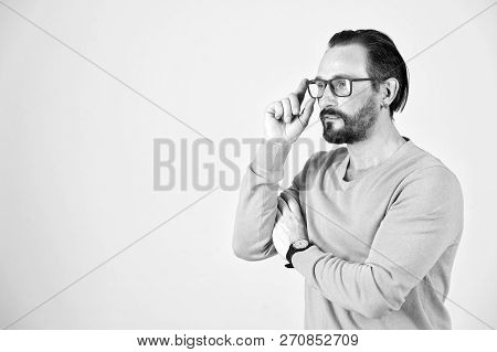 Handsome Young Freelance Wearing Glasses Looking Off To Right Of The Frame. Man With Glasses Searchi