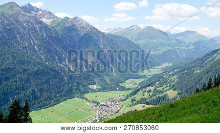 The Lechtal Alps And The Lech Valley In Tyrol, Austria; View Into The Valley, On Villages And The Le