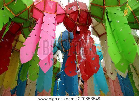 Many Of Vivid Color Paper Lantern Or Yee Peng Lantern Hanging In The Buddhist Temple, Nan Province,