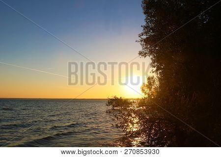 A Beautiful Sunset At Lake Chiem Chiemsee, Bavaria, Germany.