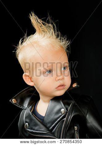 Rock Music Is Always Superior. Adorable Small Music Fan. Little Rock Star. Little Child Boy In Rocke