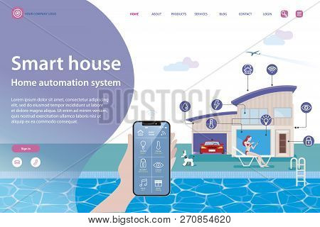 Smart Home Isometric Vector Illustration Concept. House Technology System With Wireless Centralized