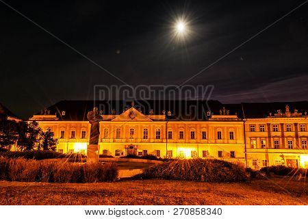 Great Seminar, Pribina Square, Nitra, Slovak Republic. Night Scene. Travel Destination. Religious Ar