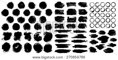 Dry Paint Stains Brush Stroke Backgrounds Set. Dirty Artistic Vector Design Elements, Boxes, Frames