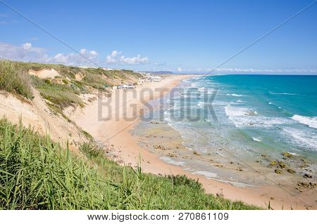 Beaches Roque And Fontanilla Of Conil From The Top In Cadiz