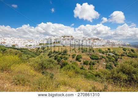Cityscape Of Beautiful And Typical White Houses Vejer Village In Cadiz