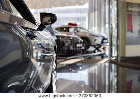 Car Auto Dealership. New Cars At Dealer Showroom. Prestigious Vehicles.