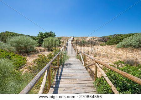 Wooden Planks Footbridge In Trafalgar Cape Natural Park To The Horizon