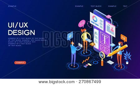 Ux Ui Design Concept For Web Page, Banner, Presentation. Infographics, Hero Images. Flat Isometric V