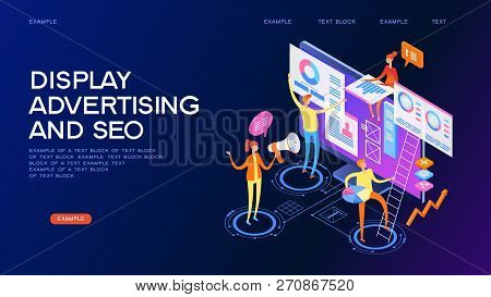 Seo Optimization Concept. Team Work Together On Web Design. Isometric Infographics Or Banner.  Devel