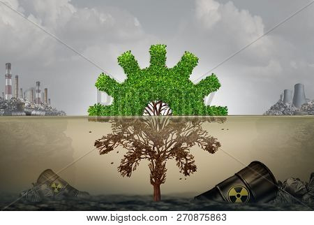 Pollution And Business Or Industrial Development Risk Concept As A Machine Part Shaped Tree Cog  Dam