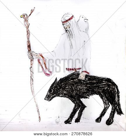 A Blind Old Man With A White Crow On His Shoulders And A Staff Goes With A Black Wolf. Wolf Guide.