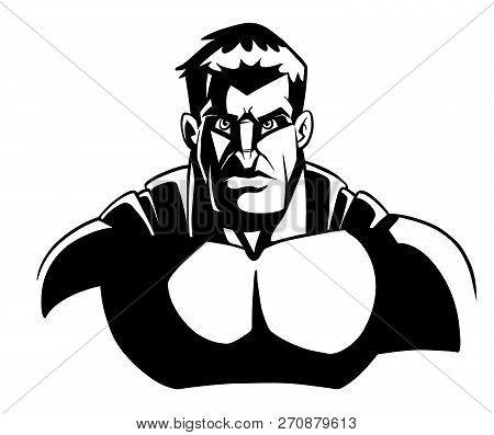 Comics Style Line Art Llustration Of The Portrait Of Powerful Superhero Looking At Camera With Tough