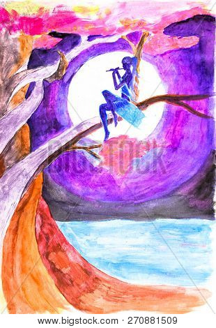 A Girl Sits In A Tree And Plays The Flute At Night Against The Background Of A Full Moon. Drawing Wa