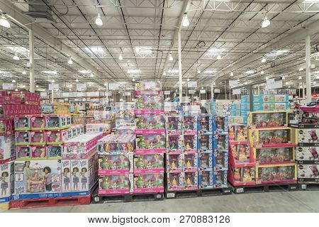 Variety Of Toys For Girls With Price On Display At Costco Wholesale Store In Texas, Usa