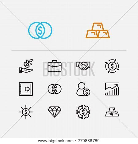 Investment Icons Set. Agriculture Investment And Investment Icons With Financial Management, Gold An